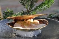 La Saint-jacques cuite en coquille, au gingembre et citron vert